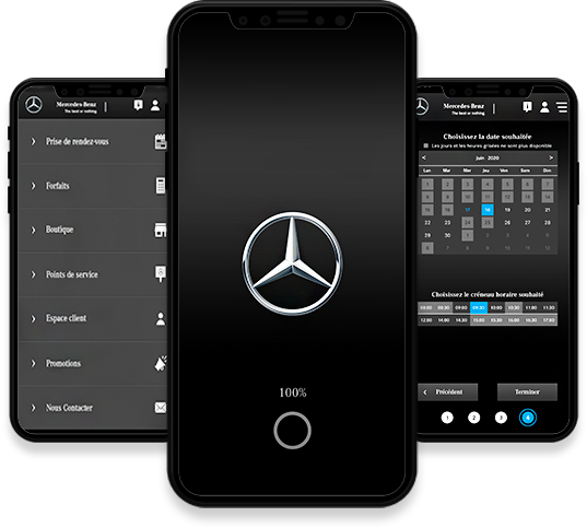 Conception, développement et publication de l'application mobile Mercedes-Benz par l'agence web et mobile Mojjoo.