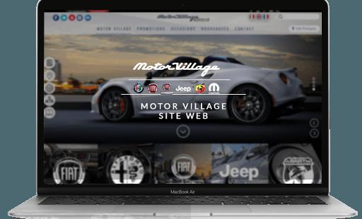 Conception et développement du site internet de Motor village par l'agence web Mojjoo